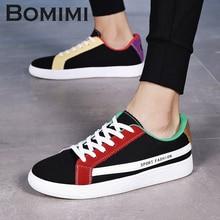 BOMIMI Men Sneakers High Quality Fashion HIgh Men Flats Casual Canvas Shoes Men Shoes Size 39-44