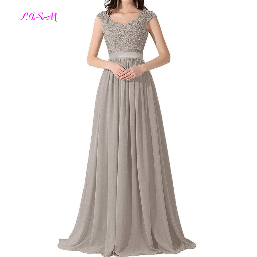 2019 Lace Appliques Chiffon Bridesmaid Dresses Ever-Pretty Bead Backless Long Formal Dresses A-Line V-Neck Cap Sleeve Party Gown