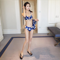 2017 New Blue Floral Four Piece Swimsuit Sexy Bathing Suits Print Push Up Bikini Swimwear Beach