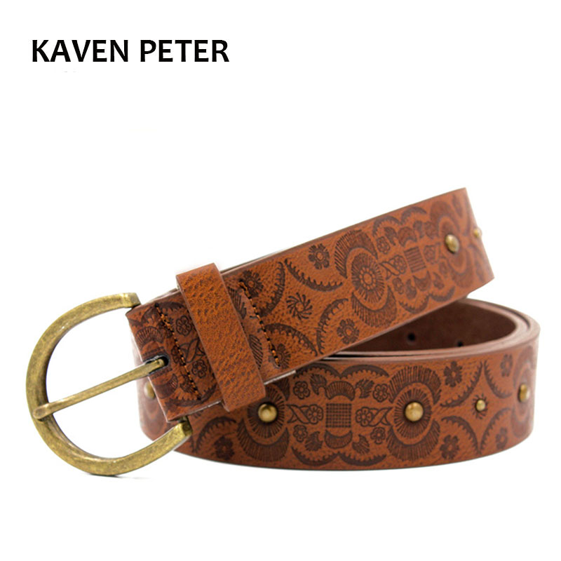 d7e6da08 US $11.22 |Aliexpress.com : Buy Fashion Women Print Metal Belts With  Antique Gold Buckle Fashion Accessories Brown Lady Belt 40 MM Free Shipping  from ...