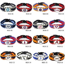 20 American baseball teams bracelet for choose 25cm MLB Chicago Cubs umbrella braided bracelet football fans gift 10pcs