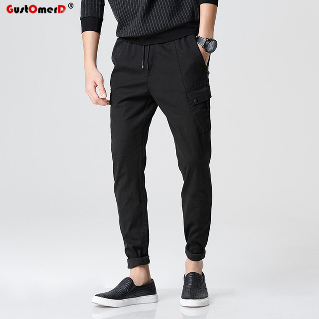 GustOmerD New Fashion Brand High Quality Solid Pocket Decoration Men Pants Male Casual Mens Joggers Drawstring Sweatpants