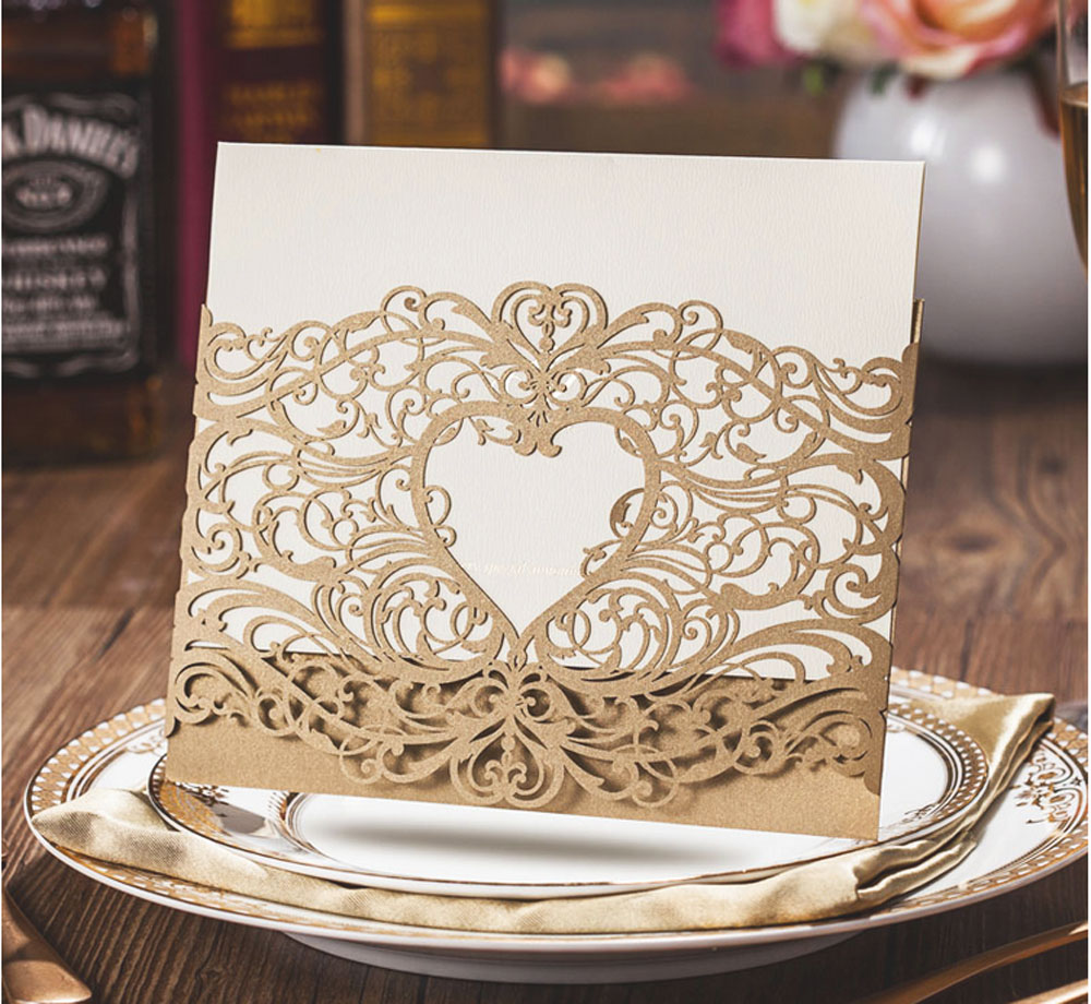 Gold Wedding Invitations Laser Cut Heart Hollow Invitations Card For ...