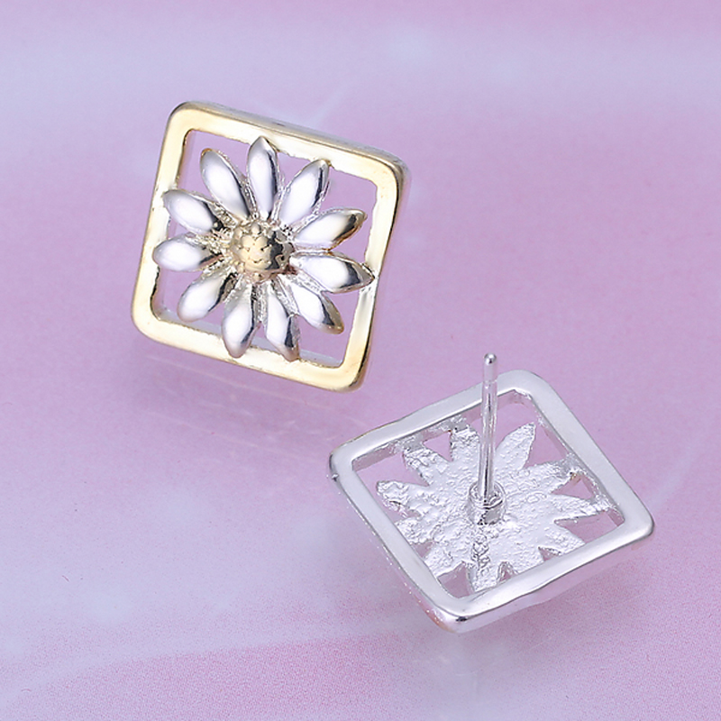Earrings Silver Plated Earrings Silver Trendy Jewelry Earrings Chrysanthemums Jewelry Wholesale Free Shipping aqiw LE147