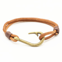 New Fashion Handmade Vintage Alloy Cuff Weave Genuine Leather Female Femme Homme Male Women Hook Anchor Bracelet For Men Jewelry(China)