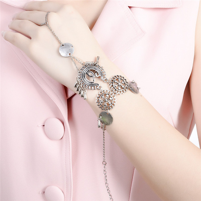 Turkish Alloy Hollow Slave Chain Bracelet For Women Las Vintage Gothic Beach Jewelry Circle