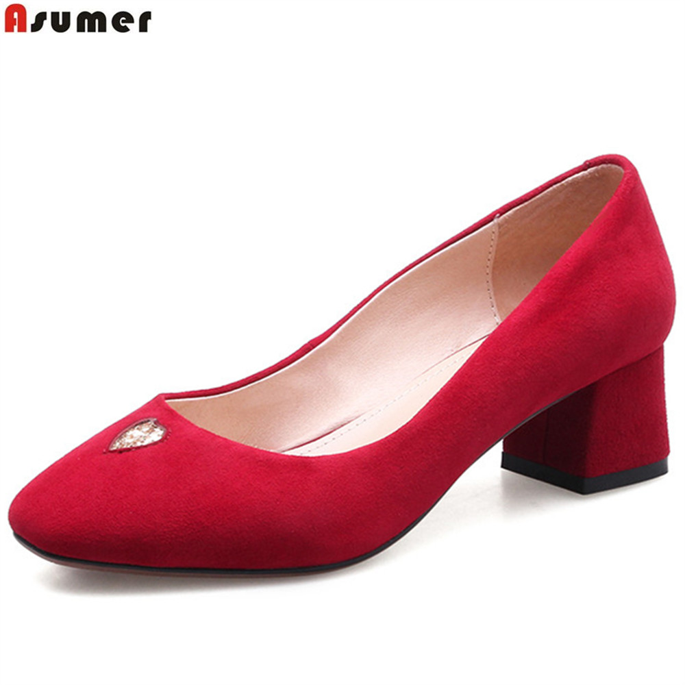 ASUMER black red pink fashion spring autumn pumps shoes square toe shallow casual square toe women suede leather med heels shoes 2016 spring and summer free shipping red new fashion design shoes african women print rt 3