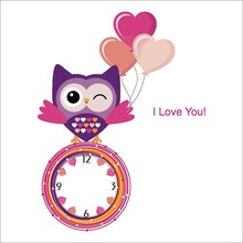 cartoon love owl not real Wall Clock Sticker DIY removable kids room bedroom kindergarten 3d pvc wall poster gift