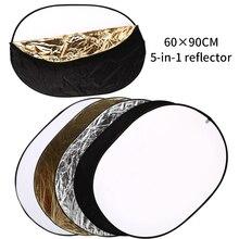 Reflector de iluminación 5 en 1 para estudio de fotografía, cámara fotográfica de 24 pulgadas x 36 pulgadas/60cm x 90cm, Oval, plegable, Multi disco