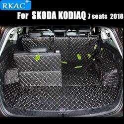 RKAC samochodu niestandardowe maty bagażnika dla SKODA KODIAQ 7 miejsc 2018 wodoodporne dywany dywany Cargo Liner wyposażenie wnętrz samochodów stylizacji na