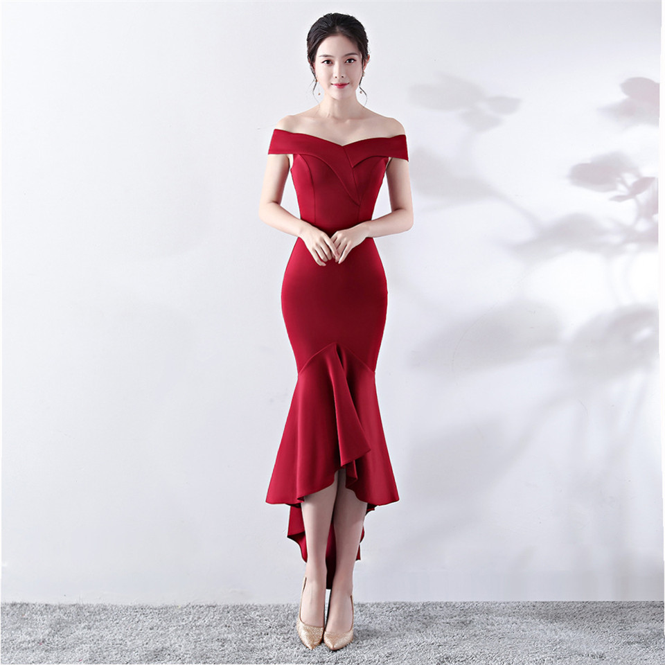 It's Yiiya evening gowns Boat Neck zipper back short sleeve party dress Backless Knee-length trumpet Royal Prom dresses C144