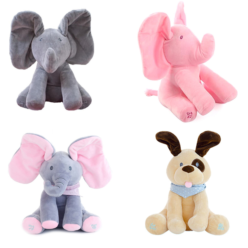 30cm Peek a boo Electric Elephant Plush Toy Interactive Cute Plush Toy For Kid Speaking Elephant