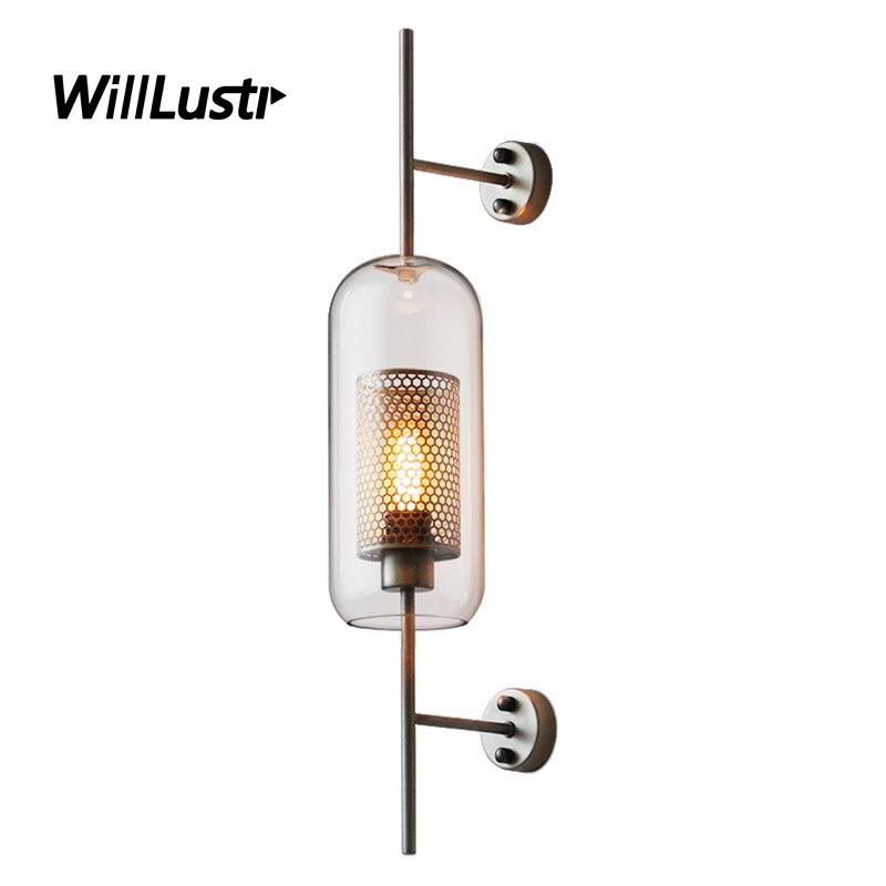 Железная сетка бра стеклянная лампа глобус цилиндр оттенок столовая спальня ресторан отель промышленный доступный роскошный свет