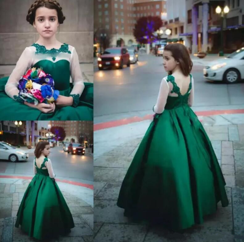 Dark Green Illusion Long Sleeves Flower Girl Dresses For Wedding Lace Appliques Satin 2018 A Line Girls Pageant Gowns pageant dress long sleeves and appliques satin white ivory flower girl dresses for wedding custom made new arrival hot