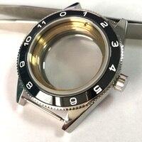시계 부품  고급 브랜드 41mm 시계 케이스 블랙 세라믹 베젤 적합 miyota 8205/8215  eta 2836 dg 2813 손목 시계