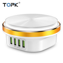 TOPK 22W Auto-ID 4 Port USB Charger Dimmable Smart LED Desk Lamp Desktop Charging For iPhone Samsung Xiaomi Mobile Phone Charger(China)