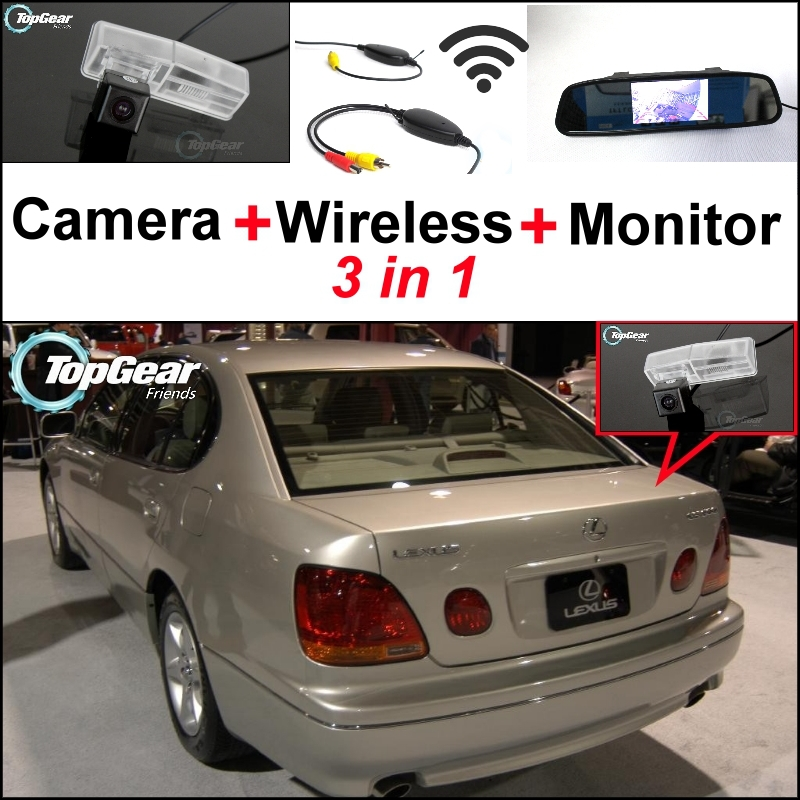 3in1 Special Rear View Camera + Wireless Receiver + <font><b>Mirror</b></font> Monitor DIY Back Up Parking System For <font><b>Lexus</b></font> <font><b>GS300</b></font> GS400 GS430 Aristo image