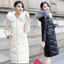 2017 Winter Korea Fashion Slim Down Jacket Coat Faux Sheep Leather Fox Fur Collar Warm Outwear Brown Eye Pattern Coat 3XL MY0003