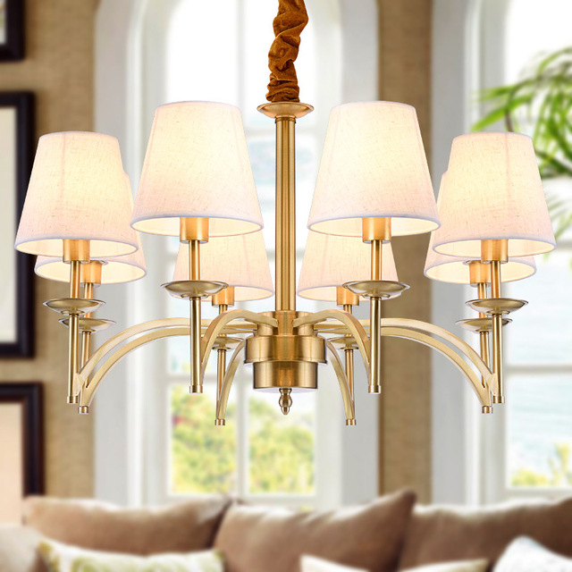 American Traditional Chandelier Led Fixture For Ballroom E14 Home Indoor Lighting Dining Room Copper Fabric Lampshade