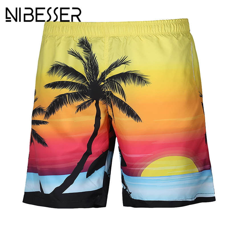 NIBESSER Hot Sale Male 3D Print Coconut Tree Casual Short Pants Men Beach Shorts Summer Vocation Board Fashion Loose Shorts Z35