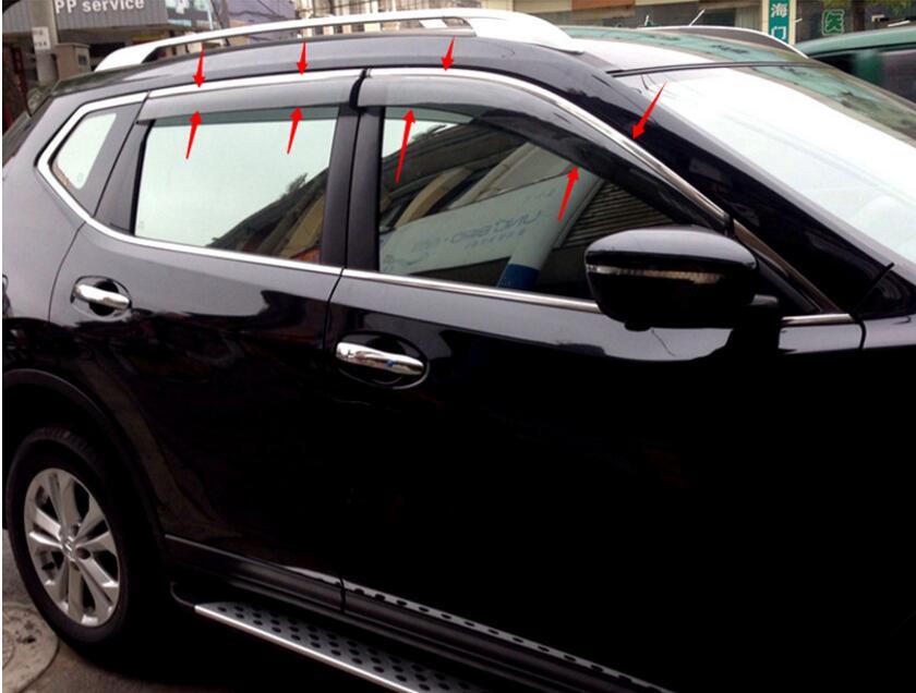 Chromed stripe ! door window visor guard deflector for Nissan Qashqai 2014 2015 2016 2017 4pcs set smoke sun rain visor vent window deflector shield guard shade for hyundai tucson 2016