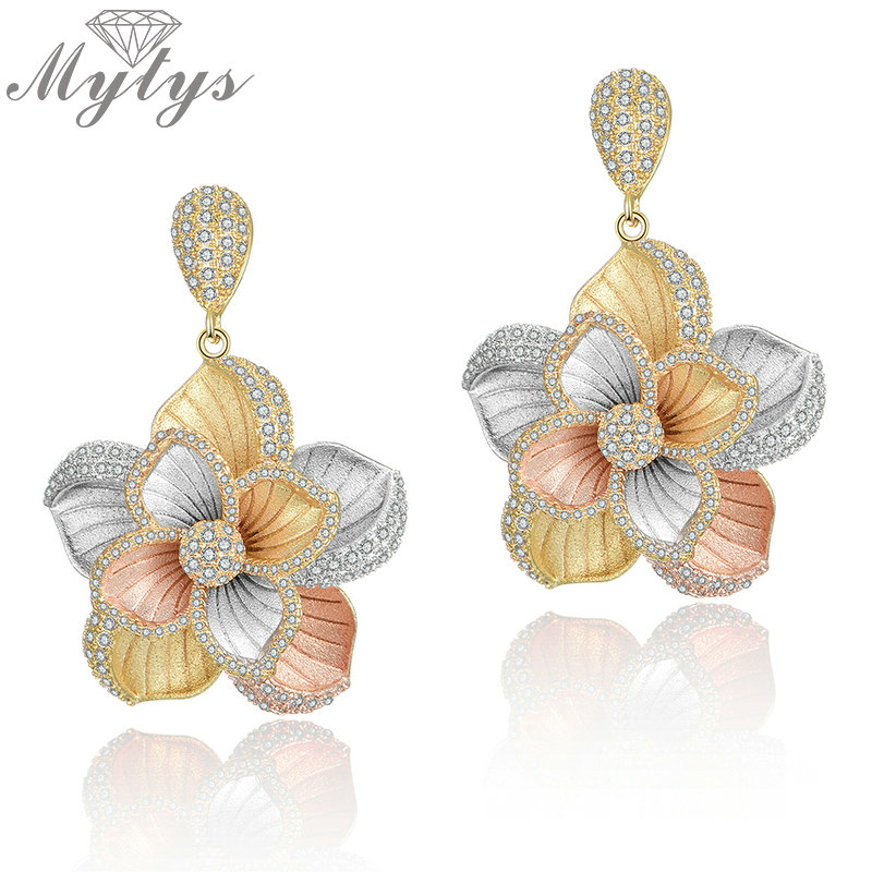 Mytys Sandblasting Rose Yellow Silver Three Gold Flower Earrings Romantic Wedding Party Jewelry Gift Fashion High Quality CE482
