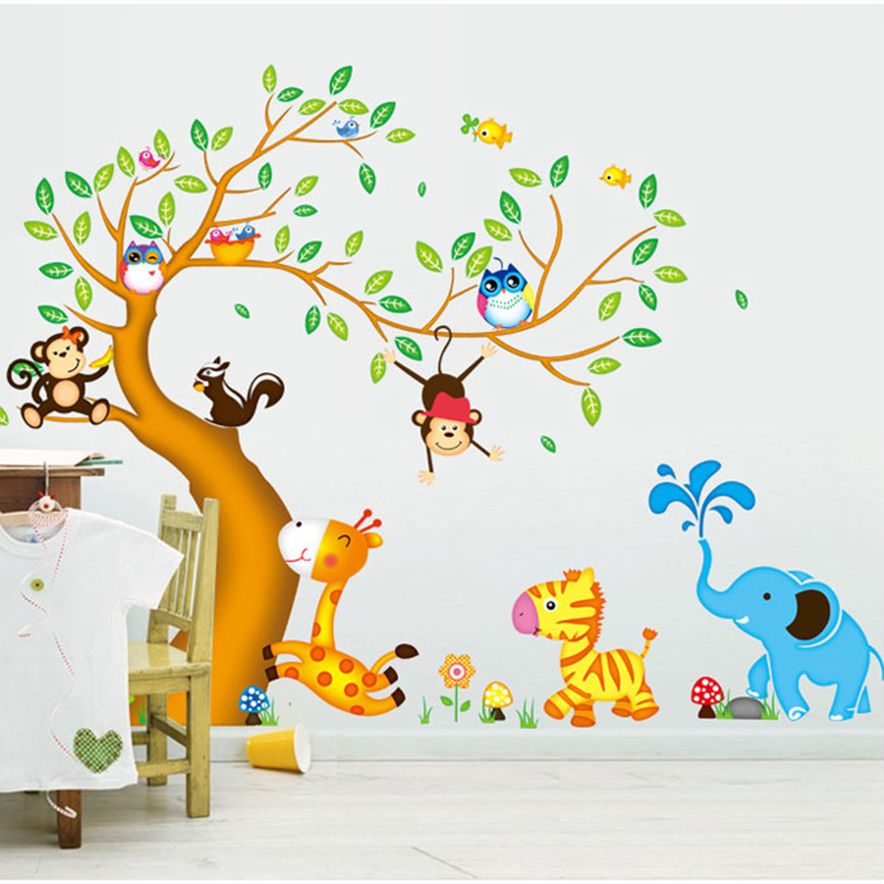 Aliexpress.com : Buy 2017 New 3D Large Size Family Tree Wall Sticker For  Kids Baby Rooms Owl Birds Art Decal Cartoon Animal Sticker Mural Decoration  From ...