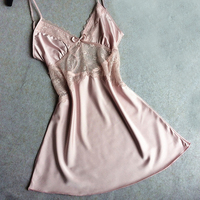 Ladies Sexy Satin Nighties Sleeveless Nightgown V Neck Night Robe Dress Lace Nightdress Women Soft Sleepshirt
