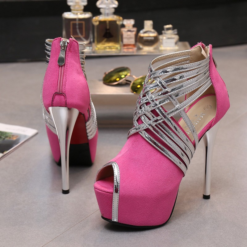 Big Size 34-44 Sexy Platform Lady's Open Toe Shoes 14cm Stiletto Heel Women Stage Prom Shoes Thin Heel Party/wedding Sandals 5