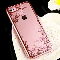 Original KAVARO Flower Diamond Case With Crystals From Swarovski For IPhone 7 Plus Luxury Electroplating Hard