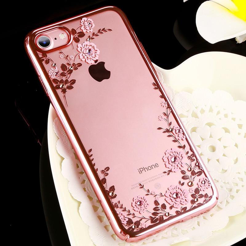 Цена за Оригинальный kavaro цветок алмаз дело с кристаллами от Swarovski для iPhone 7/плюс роскошный гальванических твердый переплет случаях