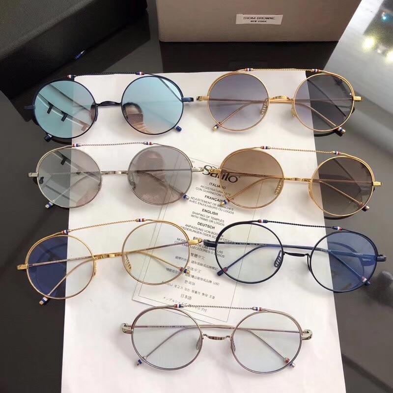 Diseñador de moda ultraligero Metal marco redondo gafas THOM TBX910 ...