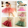EMS DHL Free Shipping Sequin Stripe Pink/ Beige Summer sleeeveless Cute Tulle Lace party Dress New Arrival 1-6 Years