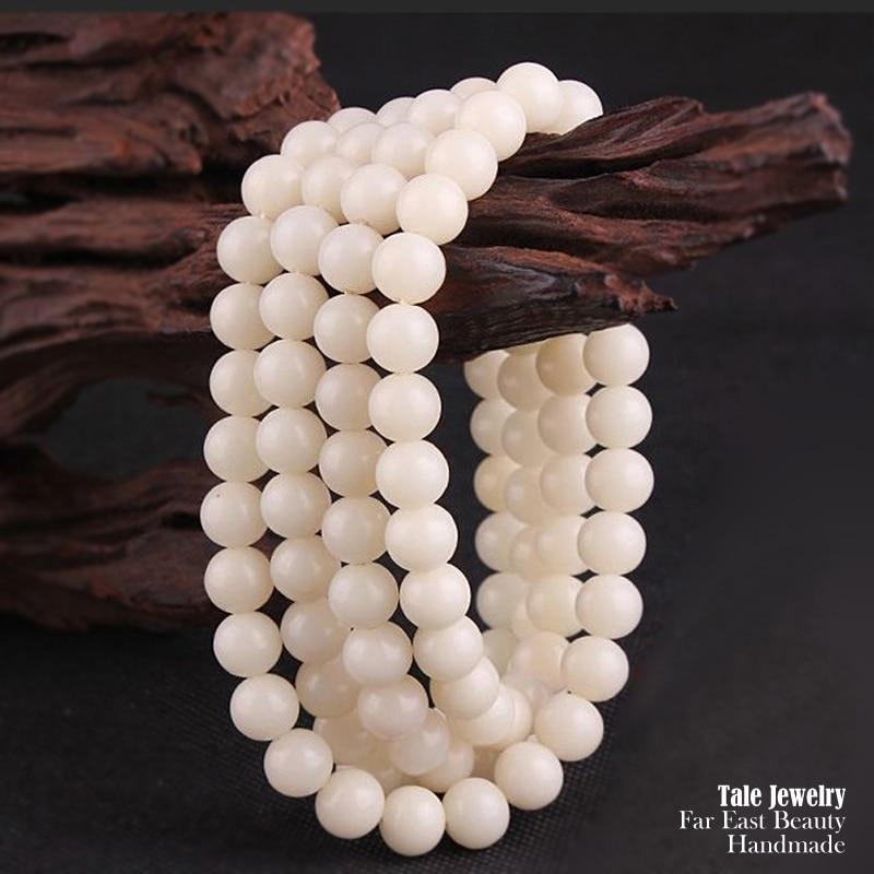 Wholesale Ivory White Bodhi Seed Tibetan Buddhism Prayer 108mala Beads Yoga Meditation Healing Wood Round Beads For DIY Jewelry tibetan yoga of movement