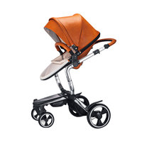Foofoo 2 in 1 Baby Stroller Manufacture High View PU Leather Folding Pram|Four Wheels Stroller| |  -