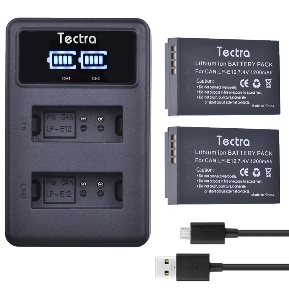 100D Cargador doble micro USB para Canon EOS 100 EOS M LP-E12 EOS M100