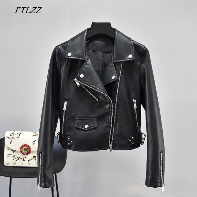 FTLZZ New Women Autumn Black Faux Leather Jackets Zipper Coat Female Pu Motorcycle Punk Rivet Red Yellow Leather Outerwear