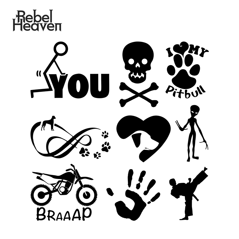 Rebel Heaven Car Sticker Jdm Decorative Window I Love My Pitbull Dirt <font><b>Bike</b></font> Poison Symbol Alien Karate Kick Car <font><b>Assessoires</b></font> image