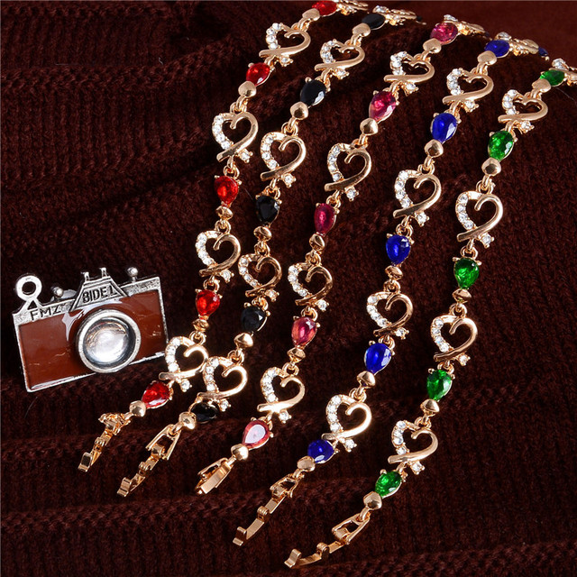 New 5 Colors Beautiful Bracelet For Women Colorful Austrian Crystal Fashion Heart Chain 2