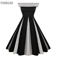 PADEGAO Black Polka Dot Vintage Dress 1950s Hepburn Sleeveless Big Swing Women Summer Autumn Prom Party