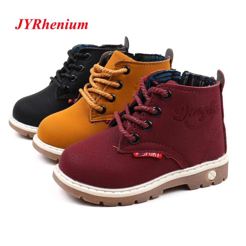 JYRhenium Child Snow Boots Shoes For Girls Boys Boots Fashion Soft Bottom Baby Girls Boot 21-30 Autumn Winter Child Boots Shoe comfy kids winter fashion child girls snow boots shoes warm plush soft bottom baby girls boots leather winter snow boot for baby