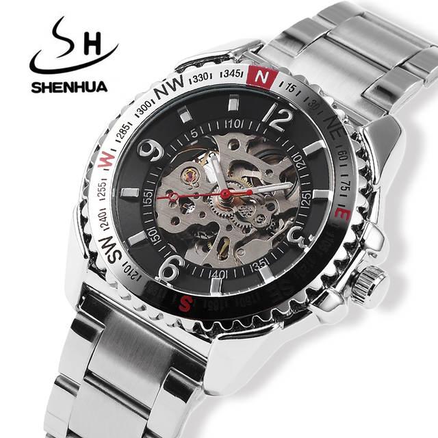 ed6092ba5e3 Men relogios homens relogio vintage mecanico automatico pulseira prata  masculino original mechanical automatic skeleton transparente wrist