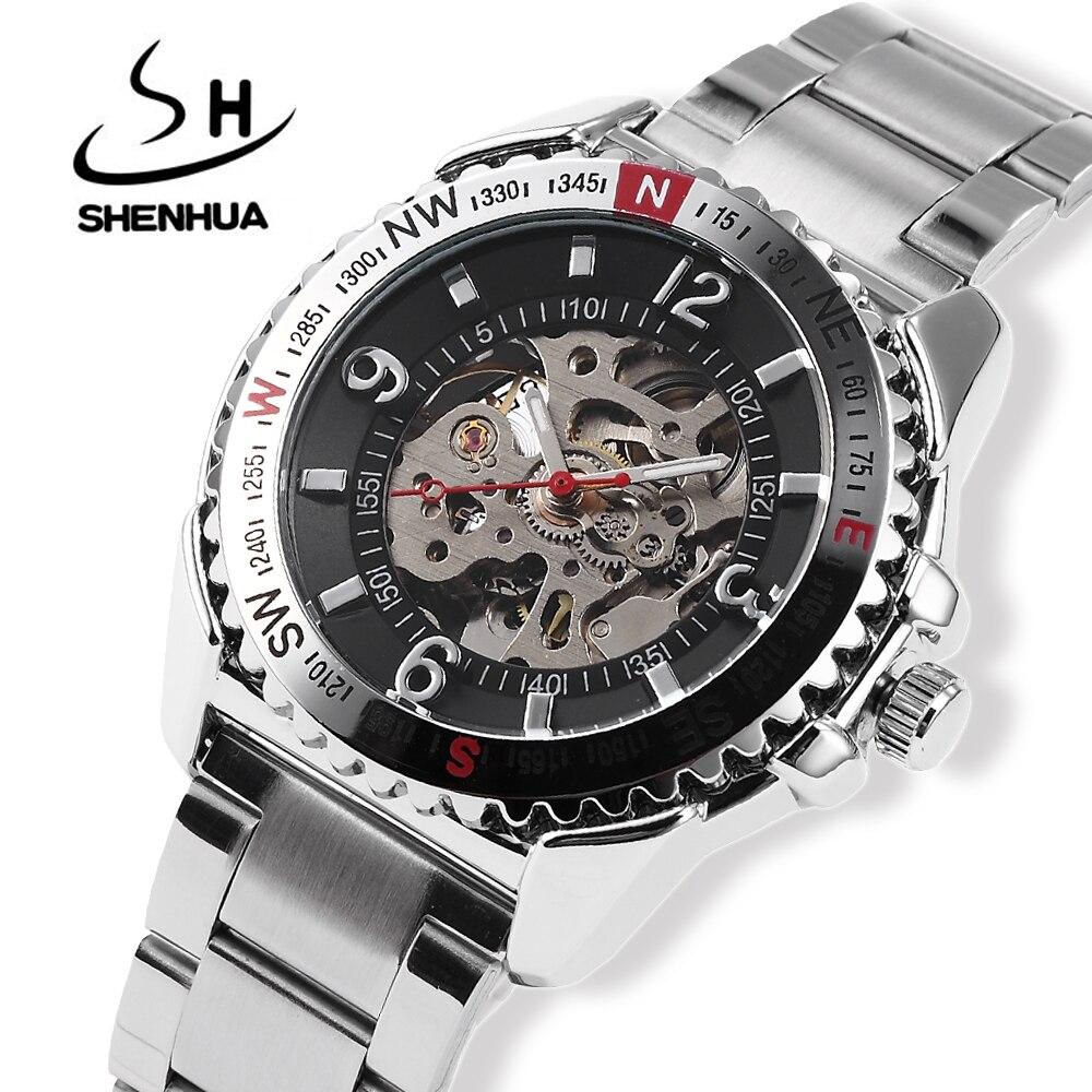 Relogio Automatico Для мужчин с скелет автоматические механические часы SHENHUA автоподзаводом часы Для мужчин серебристого металла наручные часы