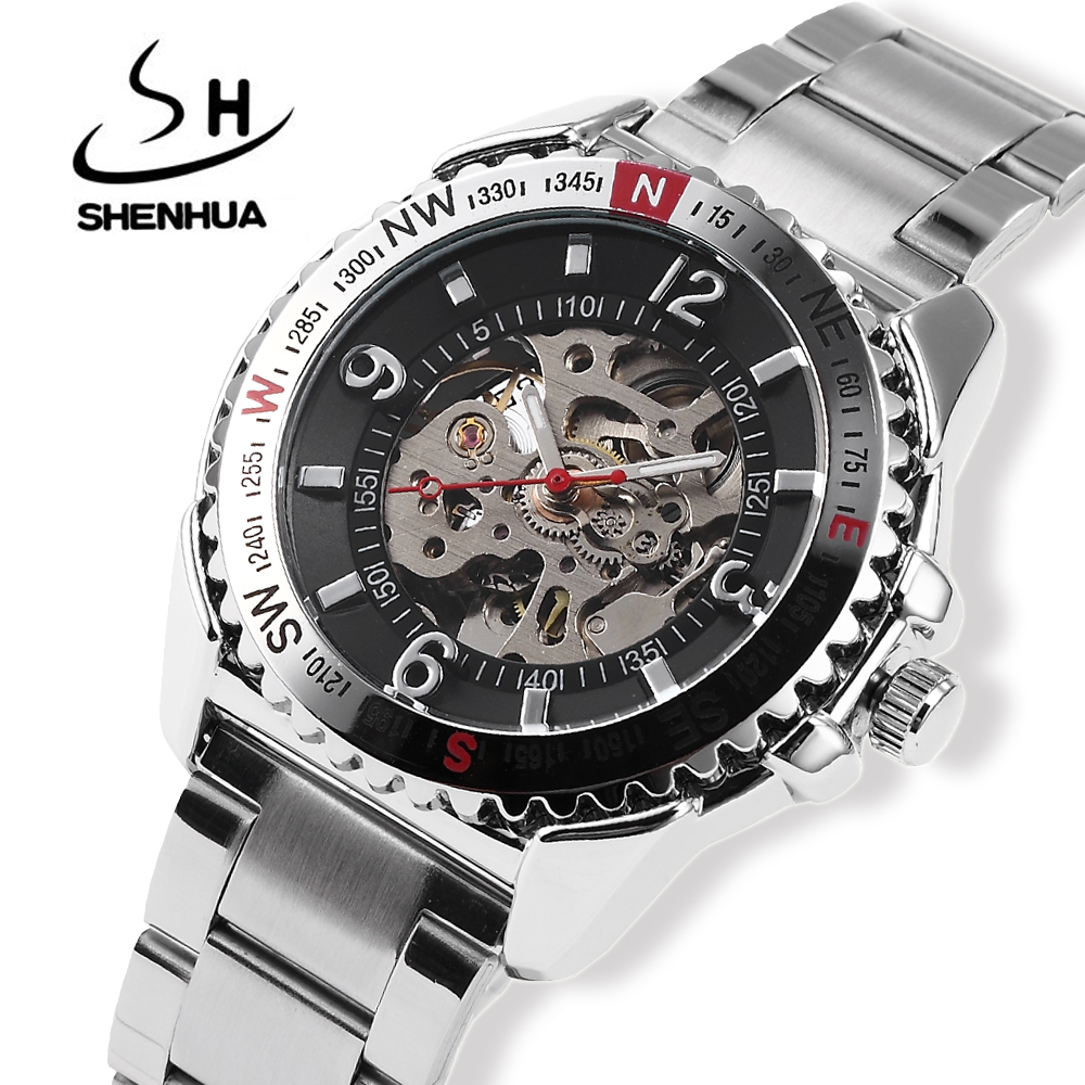 цена на Relogio Automatico Mens Skeleton Automatic Mechanical Watch SHENHUA Self Winding Watches Men Silver Metal Band Wrist Watches