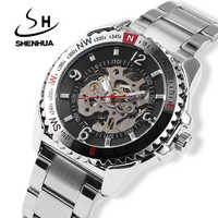 Relogio Automatico Mens Skeleton Automatic Mechanical Watch SHENHUA Self Winding Watches Men Silver Metal Band Wrist Watches