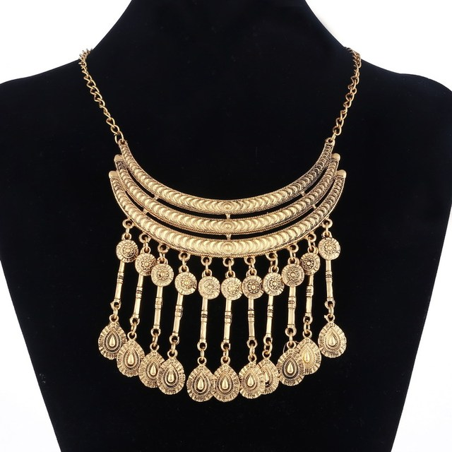 Luxury vintage gold multilayer tassel crystal pendant maxi necklaces luxury vintage gold multilayer tassel crystal pendant maxi necklaces women large gypsy coins choker statement necklace aloadofball Gallery