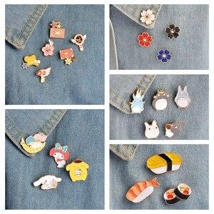 QIHE JEWELRY Japanese Style Pins Japanese Anime Badges Melody Cinnamoroll Card Captor Totoro Sushi Sakura Cartoon Enamel pin