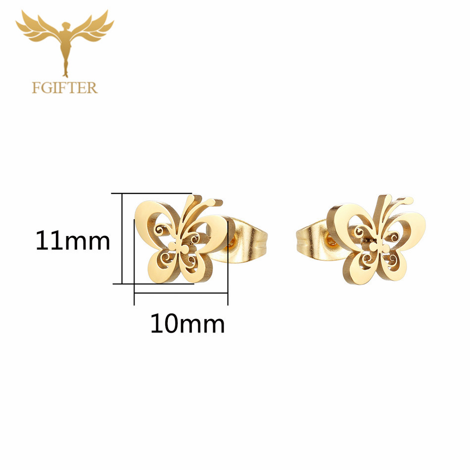 Fgifter Gold Butterfly Stud Earrings Necklace Jewelry Sets For Girls Children Stainless Steel Jewelry Kids Gifts Wholesale #3