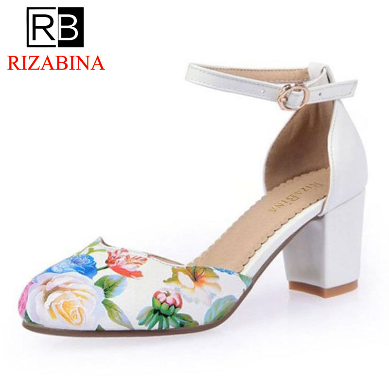 RizaBina size 33-43 fashion ankle strap round toe high heel sandals floral print brand dress footwear shoes for women PD00097 attractive high slit floral print maxi dress for women
