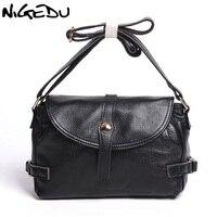 NIGEDU Brand Genuine Leather Women Messenger Bags Vintage Soft Cowhide Shoulder Crossbody Bag Mother Gifts Handbags